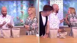 Apresentadora se machuca pra valer em truque de mágica que deu MUITO