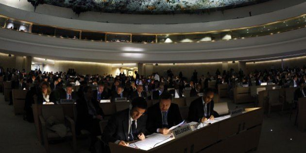 Delegates sit during a special session of the UN Human Rights Council held to discuss the findings of...