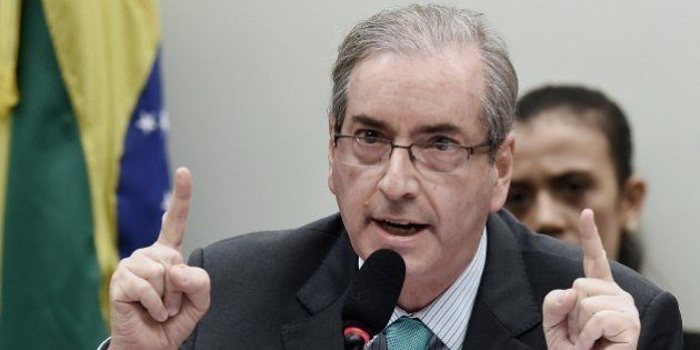 Chamber of Deputies President Eduardo Cunha of the Brazilian Democratic Movement Party (PMDB) speaks...