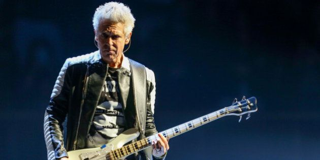 Adam Clayton of U2 performs at the Innocence + Experience Tour at The Forum on Tuesday, May 26, 2015,...