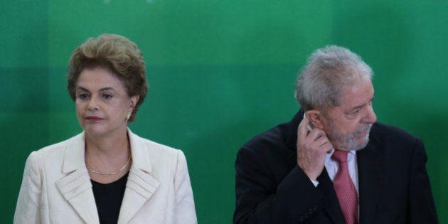 Brazil's President Dilma Rousseff and former President Luiz Inacio Lula da Silva attend his swearing-in...