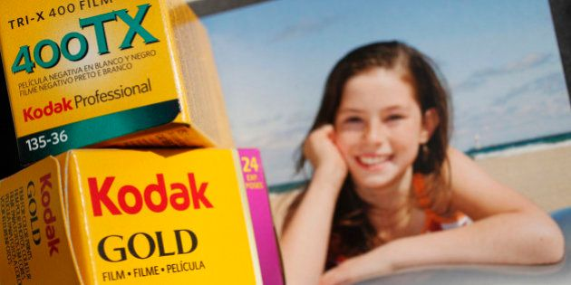Boxes of Kodak 35mm film are shown against a box of Kodak inkjet paper for an illustration, Thursday,...
