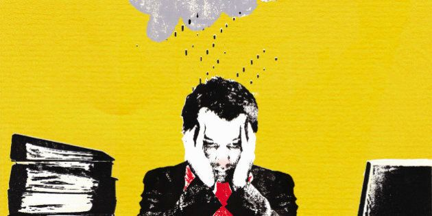 Rainy cloud over unwell businessman in