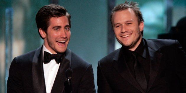LOS ANGELES, CA - JANUARY 29: Actor Jake Gyllenhaal and Heath Ledger speak onstage during the 12th Annual...