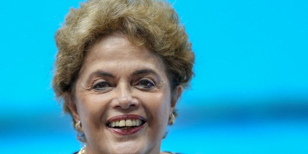 RIO DE JANEIRO, BRAZIL - APRIL 08: Brazil's President Dilma Rousseff smiles during the inauguration ceremony...