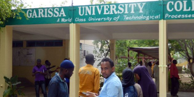Privately sponsored students wait to enter the recently reopened Garissa University College, in Garissa,...