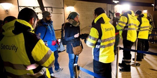 Security checks travellers IDs on January 4, 2016 at the train station in Kastrup (Denmark), the last...