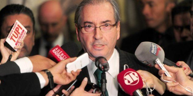 Brazilian suspended president of the Lower House Eduardo Cunha speaks with the press at the Congress...