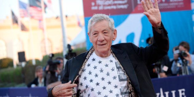 DEAUVILLE, FRANCE - SEPTEMBER 10: Actor Sir Ian McKellen arrives at the 'Mr. Holmes' Premiere during...