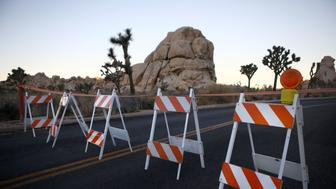 JOSHUA TREE NATIONAL PARK, CA - JANUARY 04: Barricades block a closed campground at Joshua Tree National Park on January 4, 2019 in Joshua Tree National Park, California. Campgrounds and some roads have been closed at the park due to safety concerns as the park is drastically understaffed during the partial government shutdown.  (Photo by Mario Tama/Getty Images)