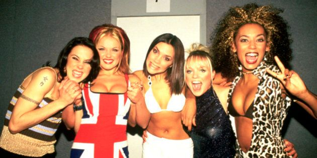 Spice Girls photographed backstage at the Brit Awards in February 1997 .; (Photo by Ray Burmiston/Photoshot/Getty