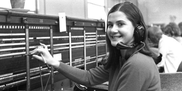 A switchboard operator at work in east London, circa 1970. (Photo by Steve Lewis/Getty