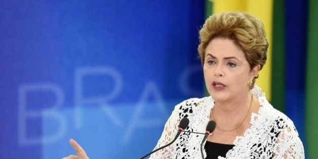 Brazilian President Dilma Rousseff speaks during the inauguration ceremony of new ministers at the Planalto...