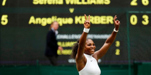Serena Williams of the U.S celebrates after winning the women's singles final against Angelique Kerber...