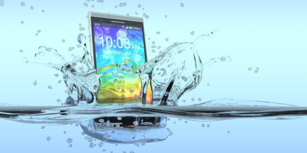one smartphone that falls in the water with splashes around it, concept of waterproof product (3d