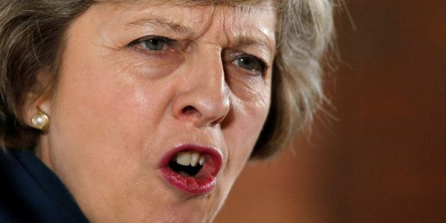 Britain's Home Secretary Theresa May speaks during her Conservative party leadership campaign at the...
