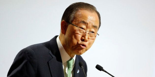 United Nations Secretary General Ban Ki-moon delivers his speech during the opening ceremony of the COP21,...
