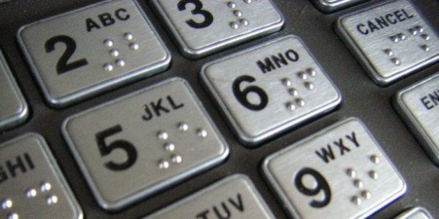 Close-up of the keypad on an ATM on the station