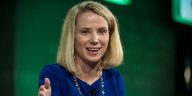 Marissa Mayer, president and chief executive officer at Yahoo! Inc., speaks during the 2015 Bloomberg Technology Conference in San Francisco, California, U.S., on Tuesday, June 16, 2015. Mayer said that the company's spinoff of its stake in Alibaba Group Holding Ltd. is proceeding as planned. Photographer: David Paul Morris/Bloomberg via Getty Images