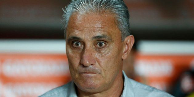 BUENOS AIRES, ARGENTINA - MARCH 04: Tite coach of Corinthians looks on during a match between San Lorenzo...