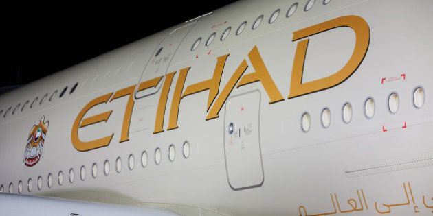 Etihad Airways PJSC livery is seen on the company's first Airbus A380 aircraft during its unveiling at...