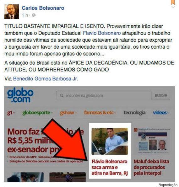 Filho de Bolsonaro reage à tentativa de assalto no Rio e irmãos aproveitam para criticar o Estatuto do