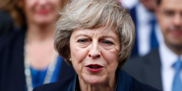 Theresa May speaks to reporters after being confirmed as the leader of the Conservative Party and Britain's...