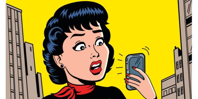 Ironic Satirical Illustration of a Retro Classic Comics Woman With a Modern
