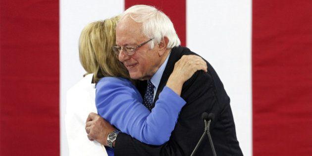 PORTSMOUTH, NH - JULY 12: U.S. Senator Bernie Sanders endorses U.S Presidential candidate Hillary Clinton...