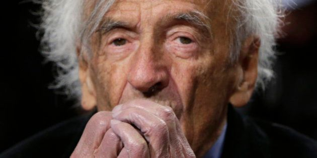 Nobel Peace Laureate Elie Wiesel is seen before participating in a roundtable discussion