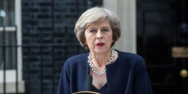 Theresa May, U.K. prime minister, delivers a speech outside 10 Downing Street in London, U.K. on Wednesday,...