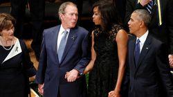 POR QUÊ? Bush resolve DANÇAR durante missa em homenagem a policiais