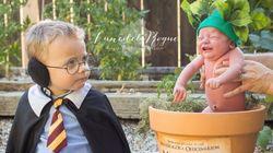 Bebê fofo + Harry Potter + fantasia de mandrágora = explosão de