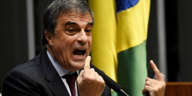 Brazilian General Attorney Jose Eduardo Cardozo speaks during the lower house session of the Congress...