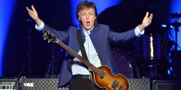 Paul McCartney greets the crowd at the start of his 'One on One' tour on Wednesday, April 13, 2016, at...