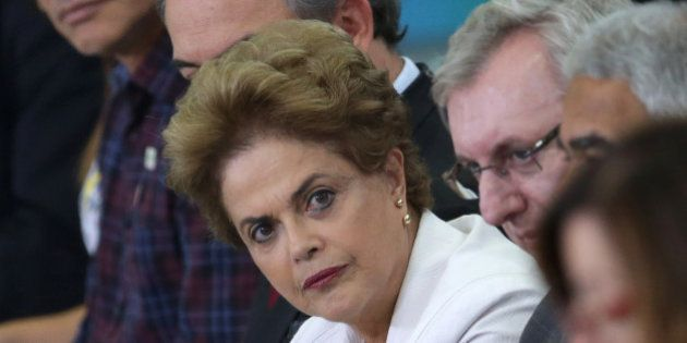 Brazil's President Dilma Rousseff attends a ceremony focusing on education at Planalto presidential palace...