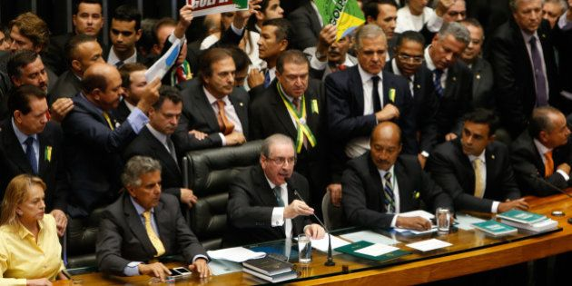 BRASILIA, BRAZIL - APRIL 17: Deputies of the Lower House of Congress vote on whether to impeach President...
