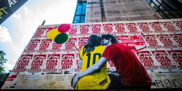 SAO PAULO, BRAZIL - APRIL 05: A wheat-paste piece of street art by artist Luis Bueno depicting a pro...