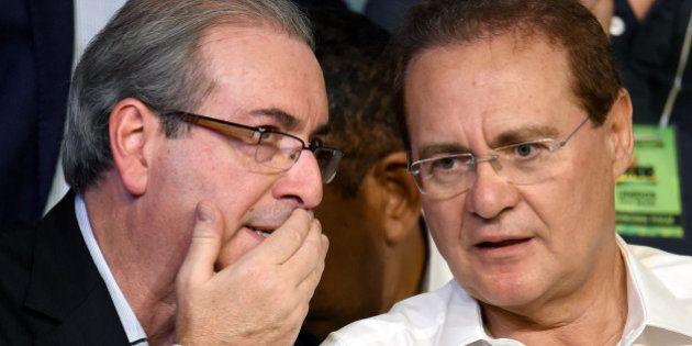 The president of the Brazilian Senate Renan Calheiros (R) speaks with the president of the Brazilian...