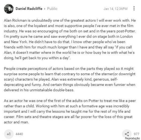 Morte de Alan Rickman: Ator é homenageado por colegas de 'Harry
