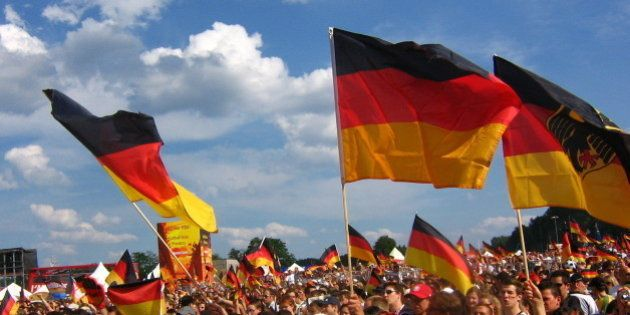 German fans watching the Germany v Sweden game at the Nuremberg Fan