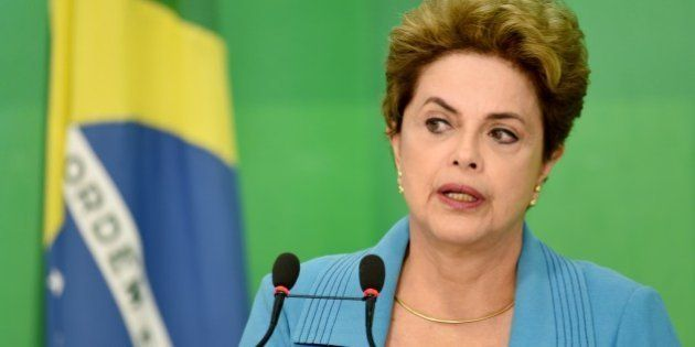 Brazilian President Dilma Rousseff speaks during a press conference at Planalto Palace in Brasilia on...