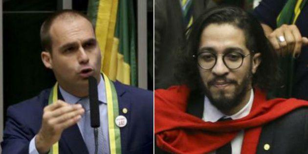 Vídeo mostra que Eduardo Bolsonaro revida cuspe de Jean