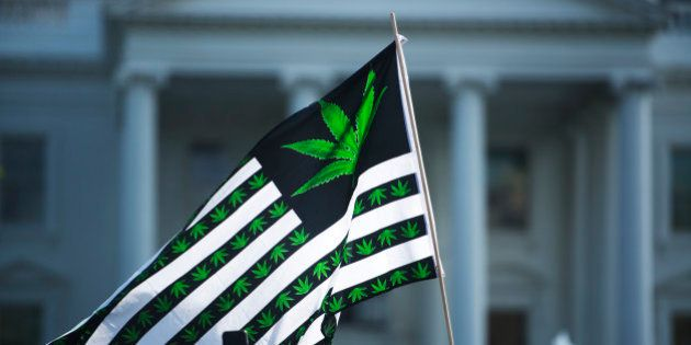 WASHINGTON DC APRIL 02: Hundreds of advocates for marijuana legalization rally and smoke pot outside...