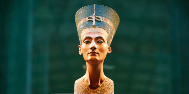BERLIN, GERMANY - SEPTEMBER 10: The bust of Egyptian beauty Queen Nefertiti is on display at Neues Museum...