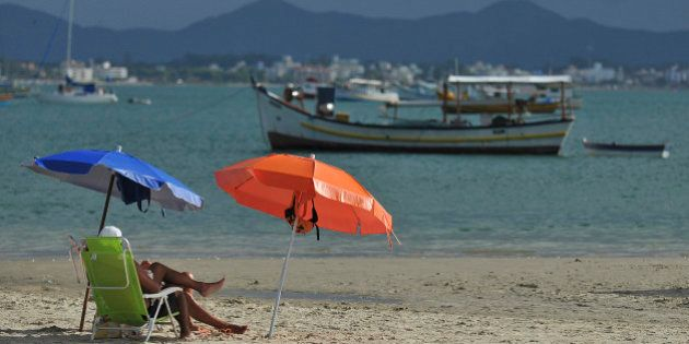 FLORIANOPOLIS, BRAZIL - MARCH 03: View of Canasvieiras beach on March 03, 2012 in Florianopolis, Brazil....