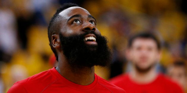 OAKLAND, CA - MAY 19: James Harden #13 of the Houston Rockets warms up prior to Game One of the Western...