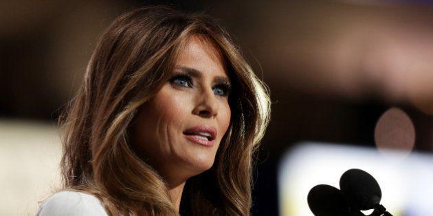CLEVELAND, OH - JULY 18: Melania Trump, wife of Presumptive Republican presidential nominee Donald Trump,...