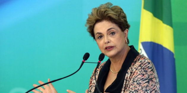 Dilma Rousseff, Brazil's president, speaks to members of the foreign press at the Presidential Palace...