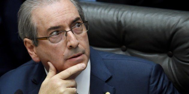 Eduardo Cunha President of the Lower House of the Congress gestures at the beginning of the session in...
